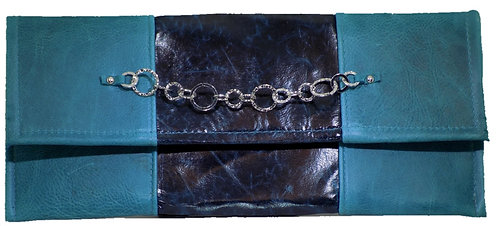 Teal / Navy Blue Leather