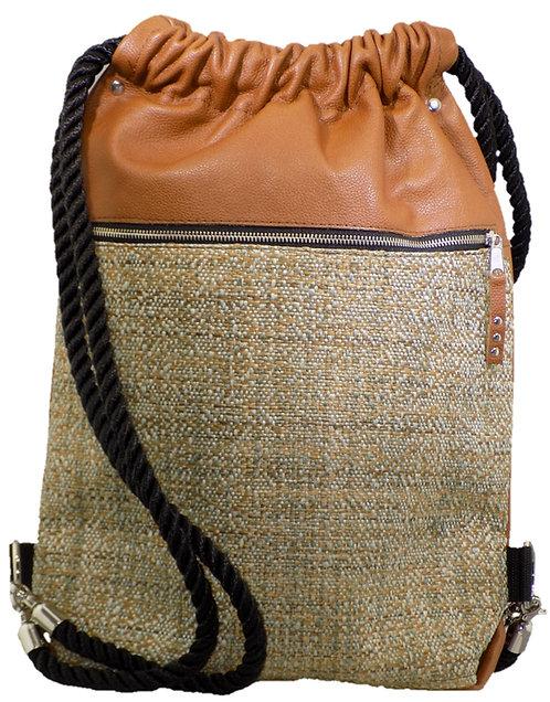 Natural Tweed - Carmel Leather