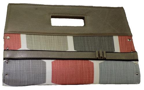 Gray Geometric Print - Gray Leather