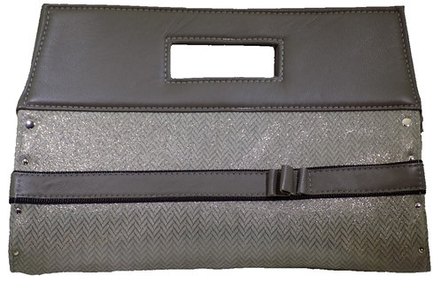 Metallic Silver Herringbone Leather - Elephant gray leather