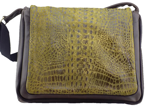 Olive Croc Print Leather - Chocolate Leather