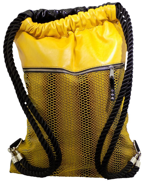 Bumblebee Snake Print Leather - Bright Yellow/Mirror Black Patent Leather