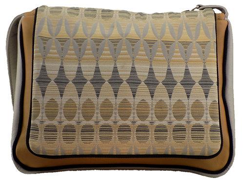 Gray / Yellow Mutli Print - Light Mustard Leather