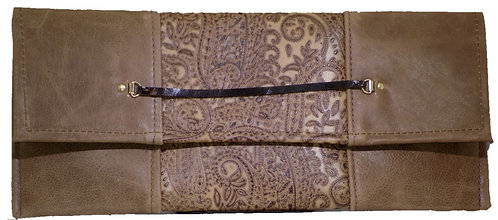 Brown Paisely Print Leather - Camel Leather