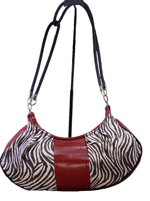Zebra Print Leather - Cranberry Leather
