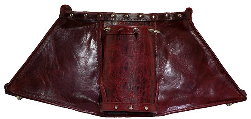 Burgundy Croc Print Leather / Burgundy Leather - Cuff