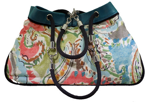 Multi Floral Print - Teal Leather