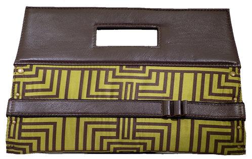 Olive / Brown Print - Brown Leather