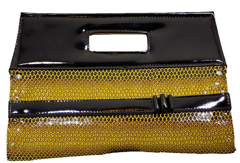 Bumblebee Snake Print Patent Leather - Mirror Black Patent Leather