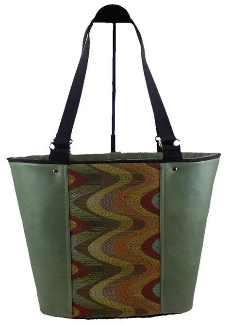 Sage Leather - Autumn Chevron Print