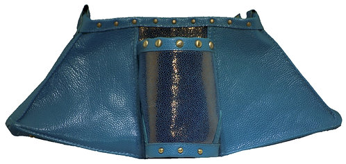 Metallic Bronze / Carribbean Blue Leather