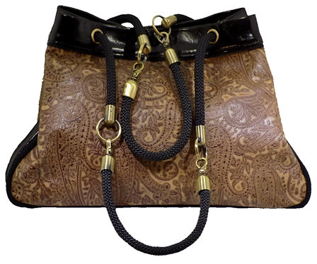 Brown Paisley Print Leather - Mirror Brown Leather