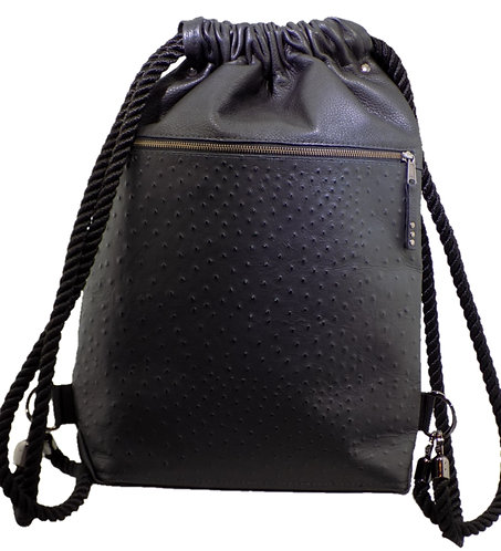Black Ostrich Print Leather - Black Leather