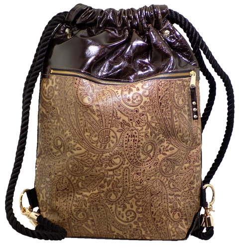 Brown Paisely Print Leather - Mirror Brown Patent Leather