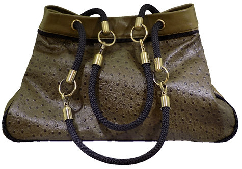 Olive Ostrich Print Leather - Olive Leather