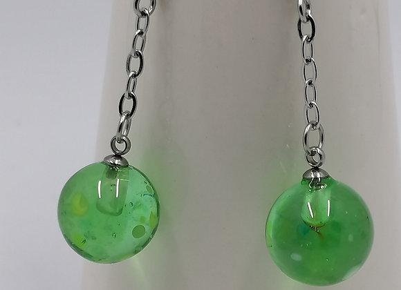 Boucles d'oreilles verte transparentes