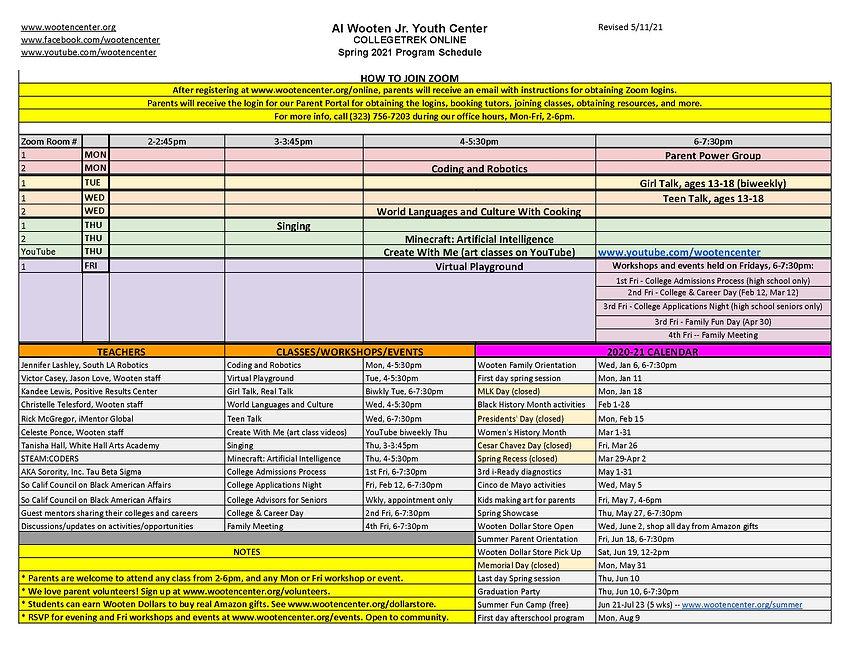 Wooten program schedules 2016-present fi