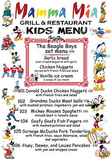 Mamma Mia Kids Menu