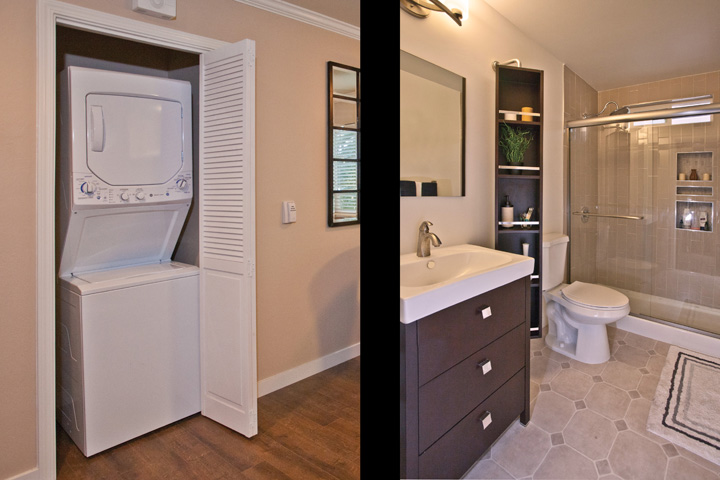 Washer/Dryer and Bathroom