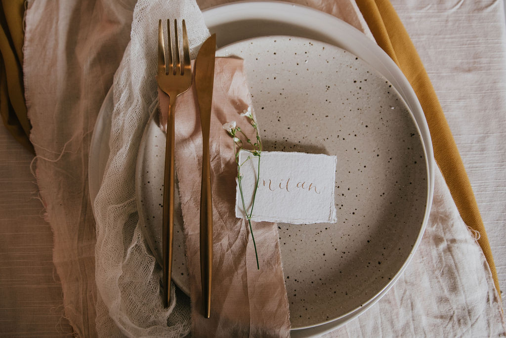 recycled cotton rag place name cards with metallic gold ink