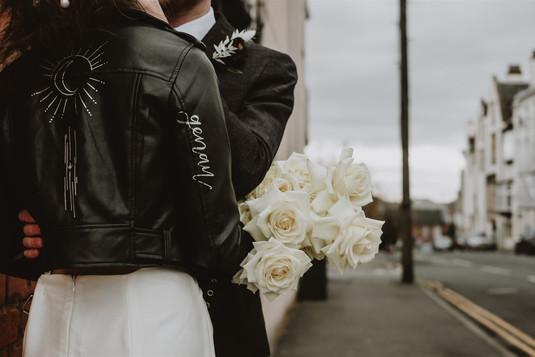 Personalised leather wedding jacket