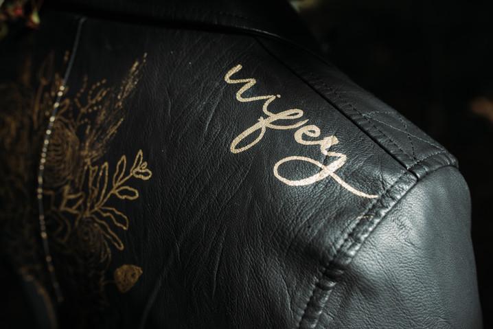 Personalised wedding leather jacket