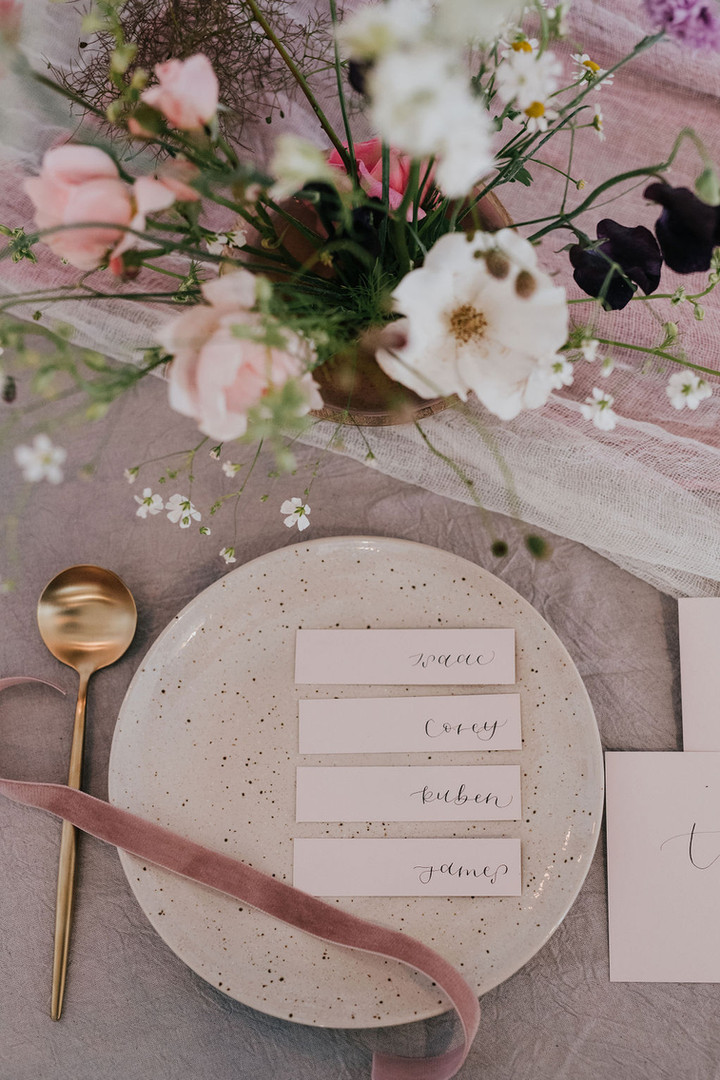 white linen matte place name cards