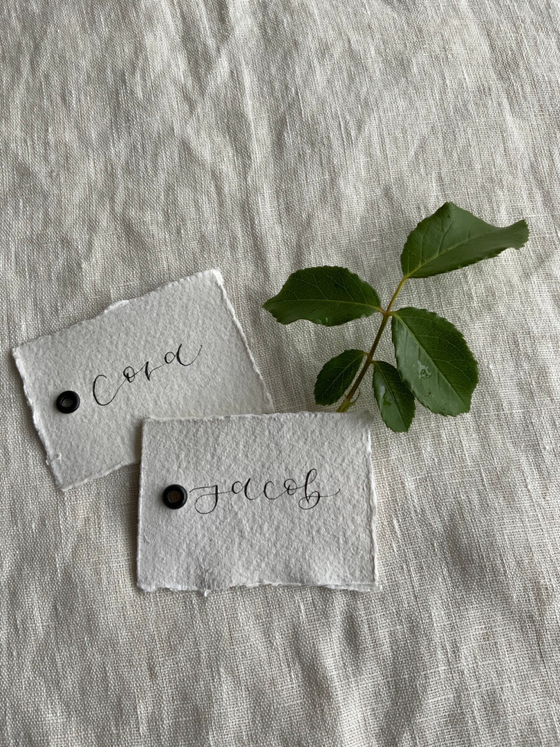 recycled wedding place cards with calligraphy