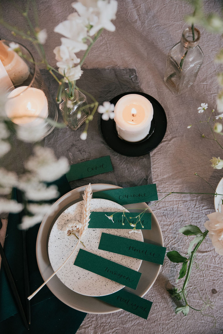 forest green matte place name cards