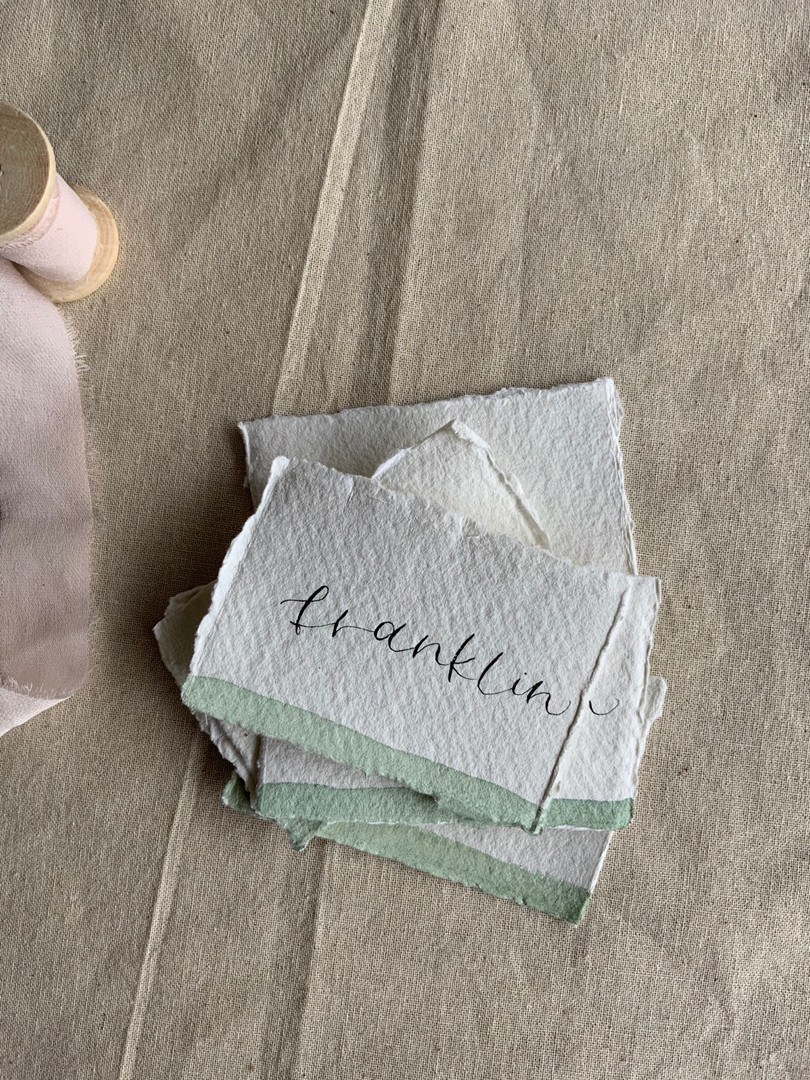 recycled calligraphy place cards with sage green watercolour
