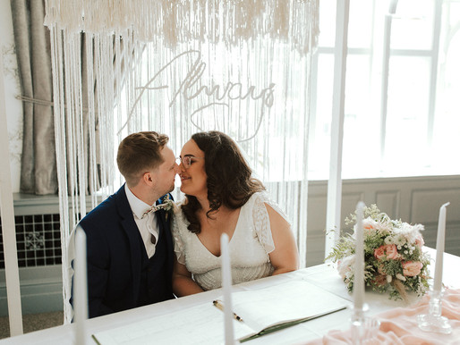 Our wedding: an intimate city centre pub wedding with blush, green + white details