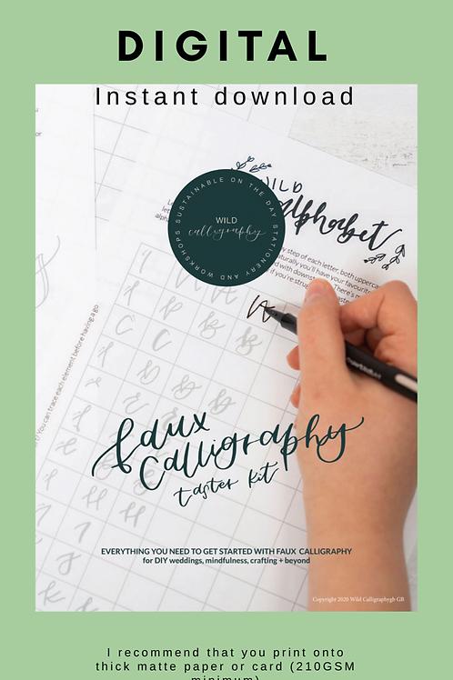 Digital download - Faux calligraphy TASTER kit