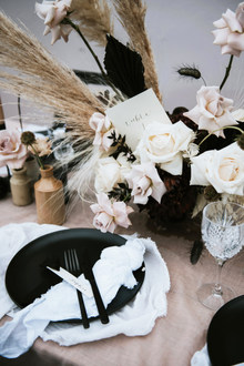 sustainable wedding stationery, place cards, wooden signs + painted jackets