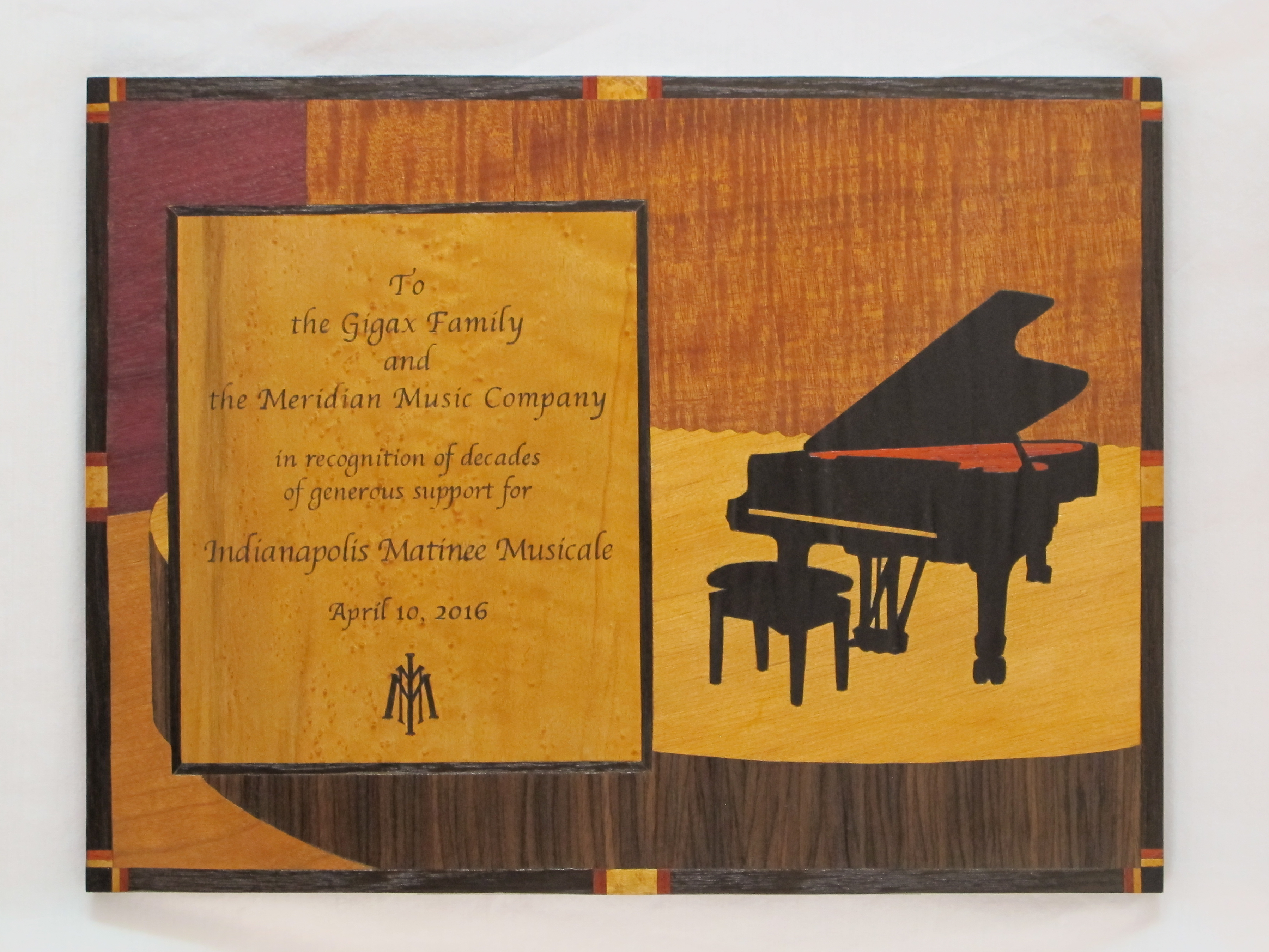 Marquetry plaque