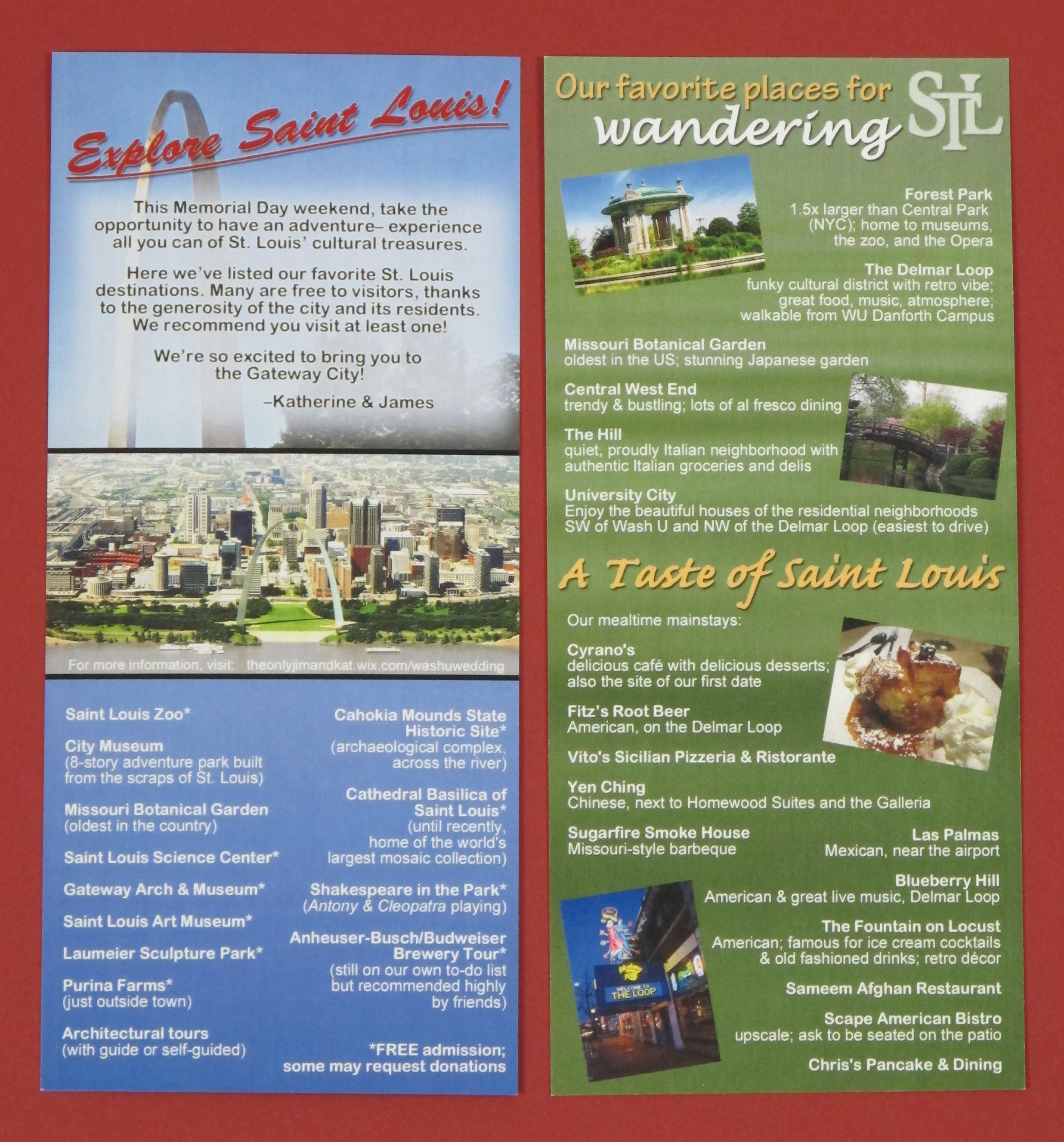 Brochure in wedding invitation