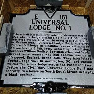 Universal Lodge No. 1 2018-2019 Masonic Year