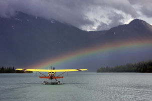 the front seat of a Piper Super Cub of alaska float ratings