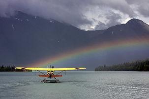 the front seat of a Piper Super Cub of alaska float ratings