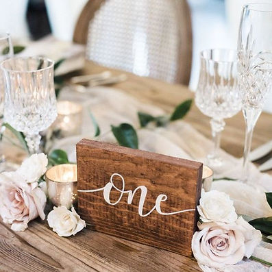 personalised custom hand painted table numbers | Big Day Decoration