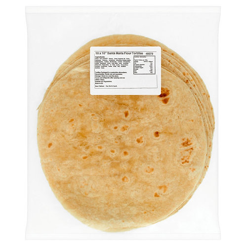"Santa Maria Plain Tortilla Wraps 10"" x 50"