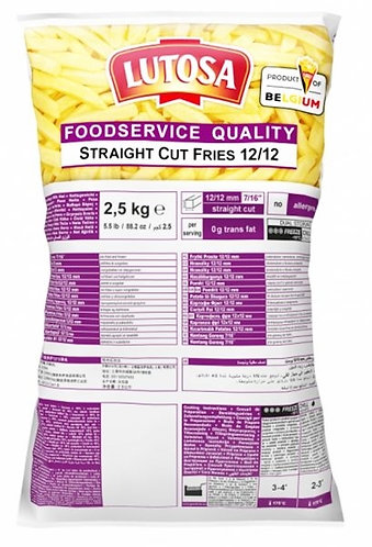 Lutosa 12x12 Straight Cut Fries 4 x 2.5kg FLUT4376