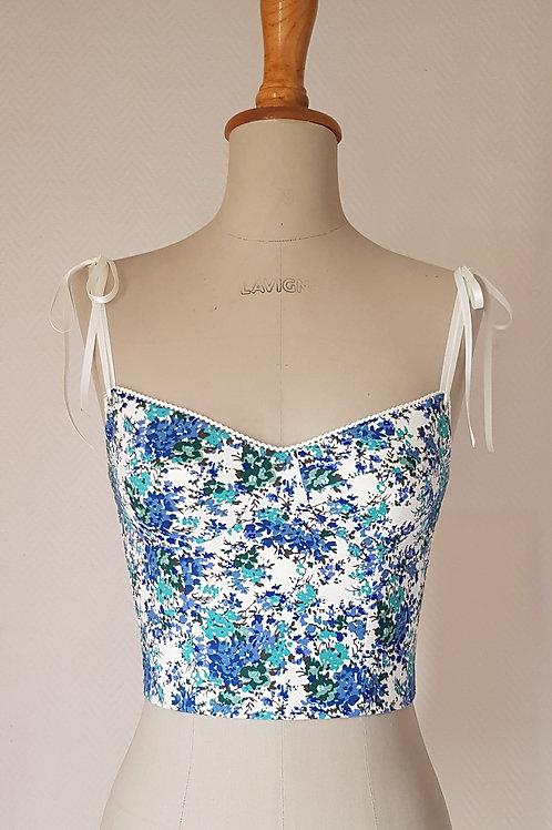 Bustier en coton à fleurs bleues 💎