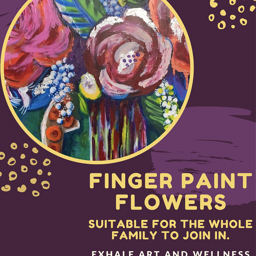 Adults & Kids - Finger painted flowers