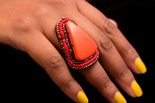 Orange Stone Ring with Beading