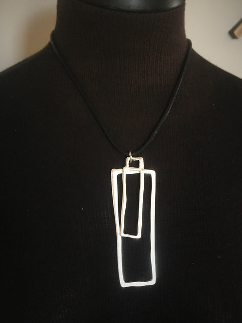 2 Square Silver Necklace w/Earrings