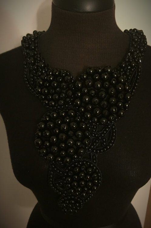 5 Tier Circle Pearl Necklace Black