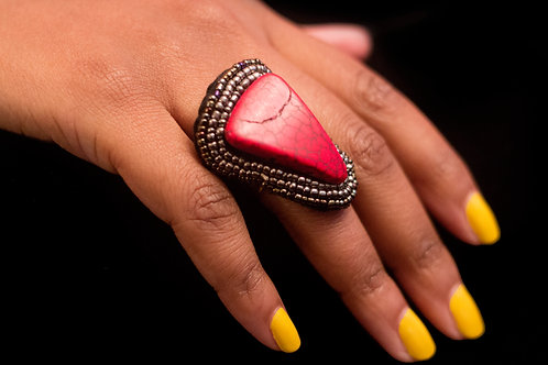 Red Stone Ring with Beading