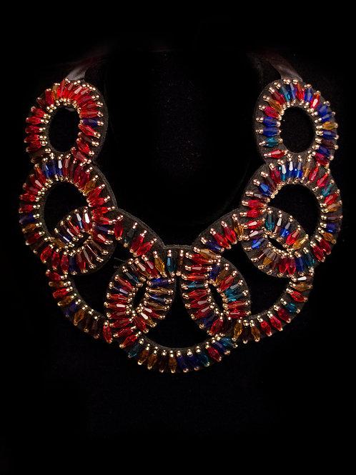 Multi Color Circle Shape Tie Necklace