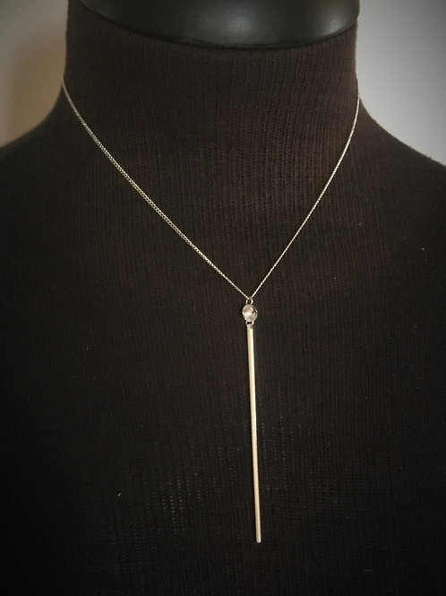 Silver Long Pendant with Stone