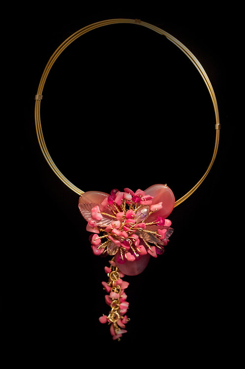 Pink Flower Gold Necklace